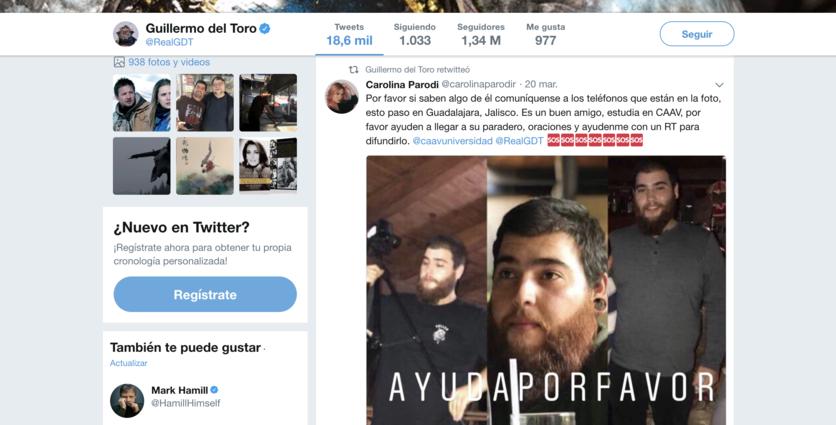 Se suma Guillermo del Toro a búsqueda de estudiantes de cine desaparecidos en Jalisco